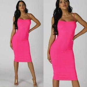 'Calabasas' Midi Dress - Neon Pink